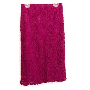 Plum Lace Pencil Skirt